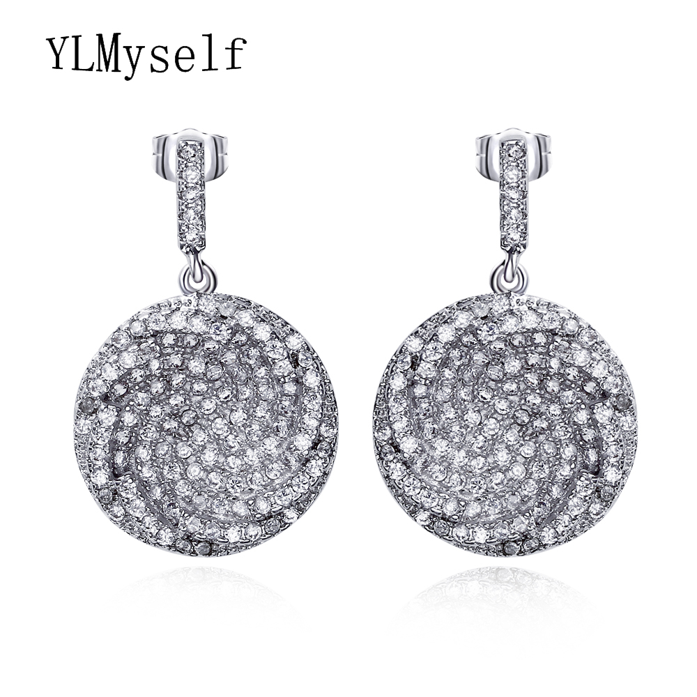 2018 Beautiful Round dangling Earring White and Gold color Crystal ...
