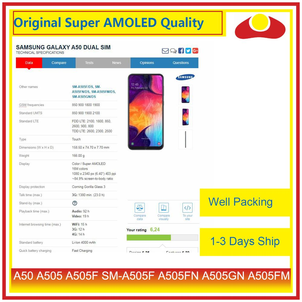 Image 4 - Original For Samsung Galaxy A50 A505 A505F SM A505F LCD Display With Touch Screen Digitizer Panel Pantalla Complete-in Mobile Phone LCD Screens from Cellphones & Telecommunications
