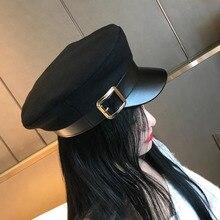 Женские черные шапки в стиле милитари на осень и зиму, модные шерстяные шапки из искусственной кожи в стиле пэчворк, кепки с поясом для женщин Gorras
