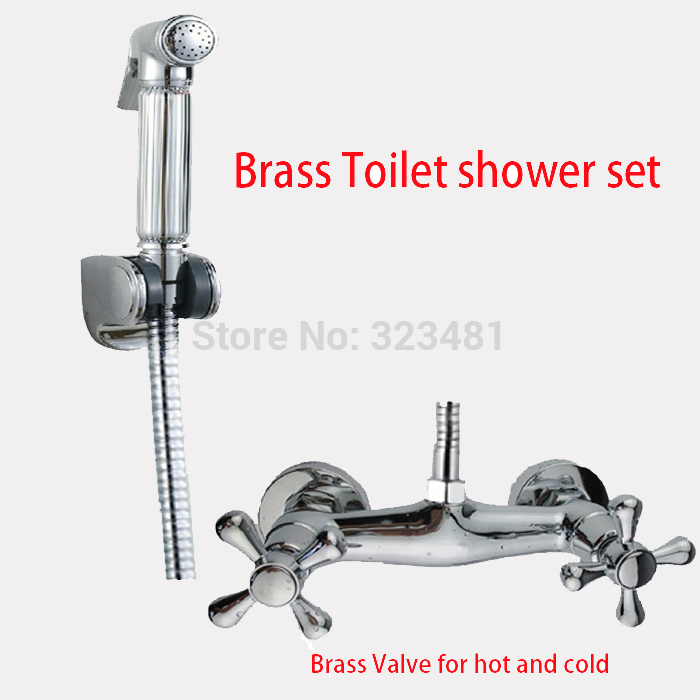Brass handheld Toilet shower set for hot and cold water with Bidet shattaf spray Faucet valve mixing sprayer gun hose holder 125ft 7 modes expandable garden water hose pipe with spray gun