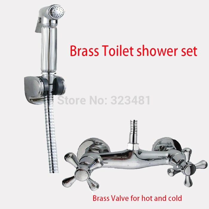 Ensemble de douche de toilette à main en laiton pour eau chaude et froide avec Bidet shattaf robinet de pulvérisation vanne de mélange pulvérisateur pistolet support de tuyau