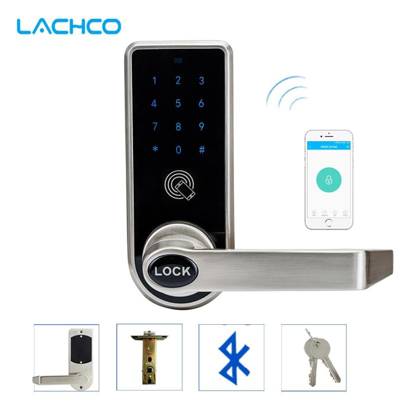 Commande électronique d'app de serrure de porte de téléphone intelligent de LACHCO Bluetooth, Code, clés mécaniques pour l'entrée intelligente d'hôtel à la maison L16073AP