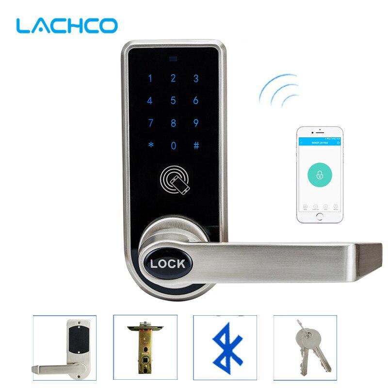 Lachco bluetooth inteligente telefone eletrônico fechadura da porta app controle, código, chaves mecânicas para casa hotel entrada inteligente l16073ap