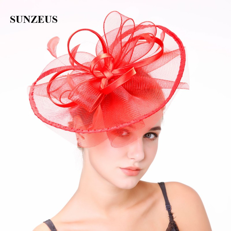 Ribbon Satin Flowers Big Hats for Bridal Feathers Fascinators Wedding Party Hat Hair Accessories Tulle cappelli da cerimoni SH48