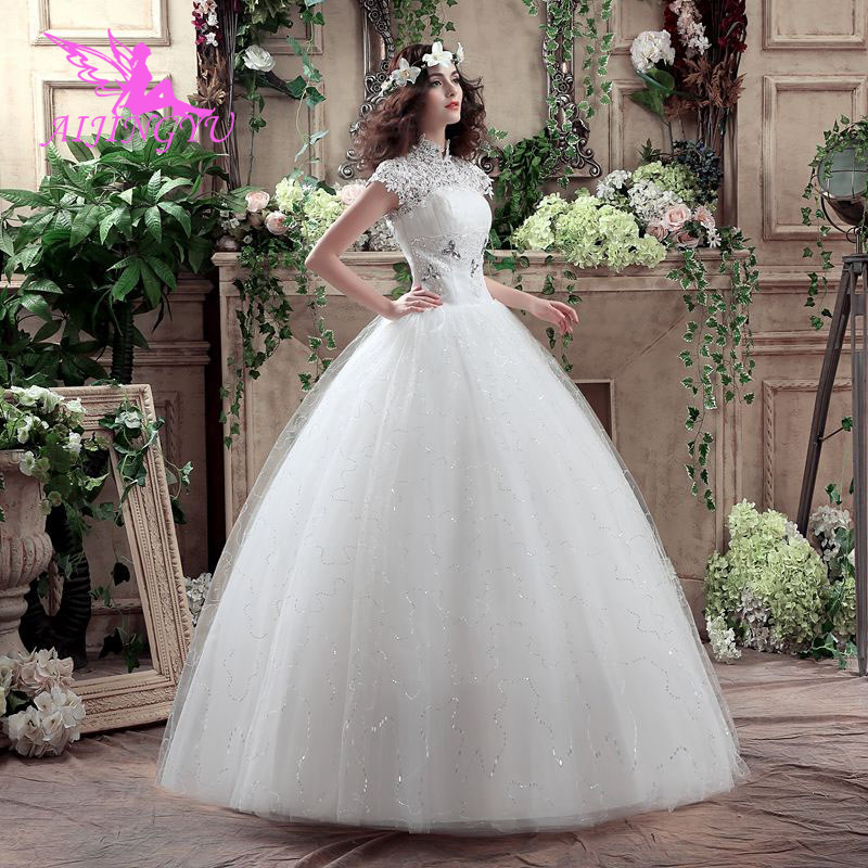 AIJINGYU 2018 Communion Free Shipping New Hot Selling Cheap Ball Gown Lace Up Back Formal Bride Dresses Wedding Dress WK803