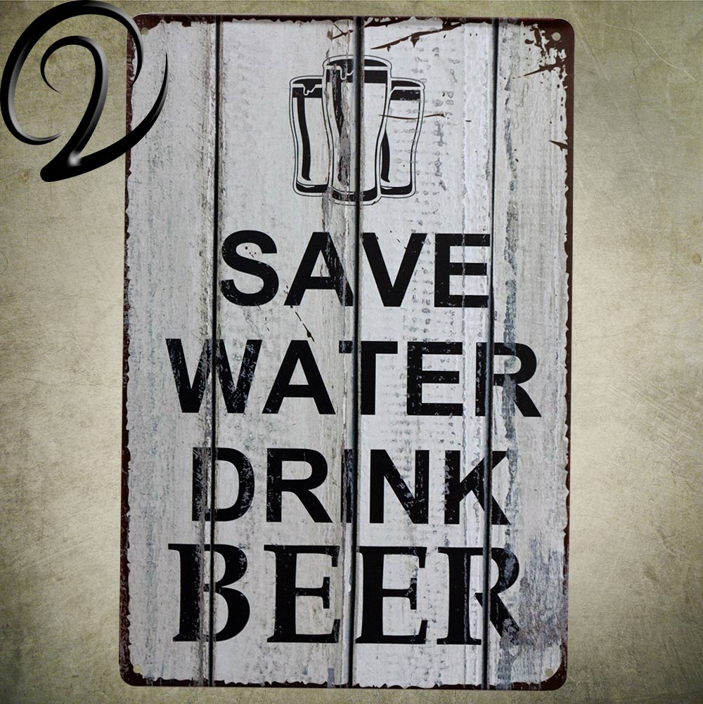 Metal Signs For Home Decor: Save Water Drink Beer Vintage Home Decor 20*30 Cm Metal