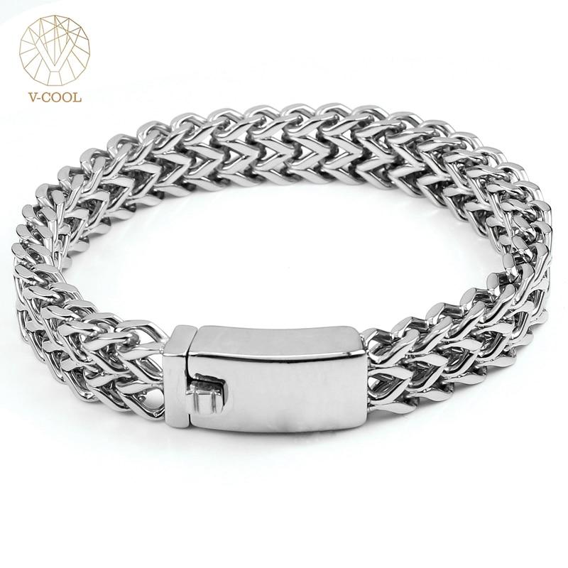 18 19 22cm Chain Bracelets 316L Stainless Steel Bracelet Men's Hand Chain Mesh Bracelet Steel Wrist Band Titanium Jewelry VCOOL