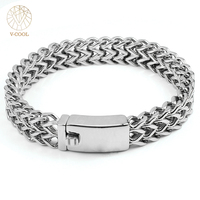 316L Stainless Steel Bracelet For Men Silver Fashion Male Hand Chain Bracelet Titanium Jewelry Findings VCOOL