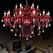 Red Modern Araña de Cristal de salón comedor dormitorio de la lámpara restaurante lámparas de iluminación luminaria de suspensión