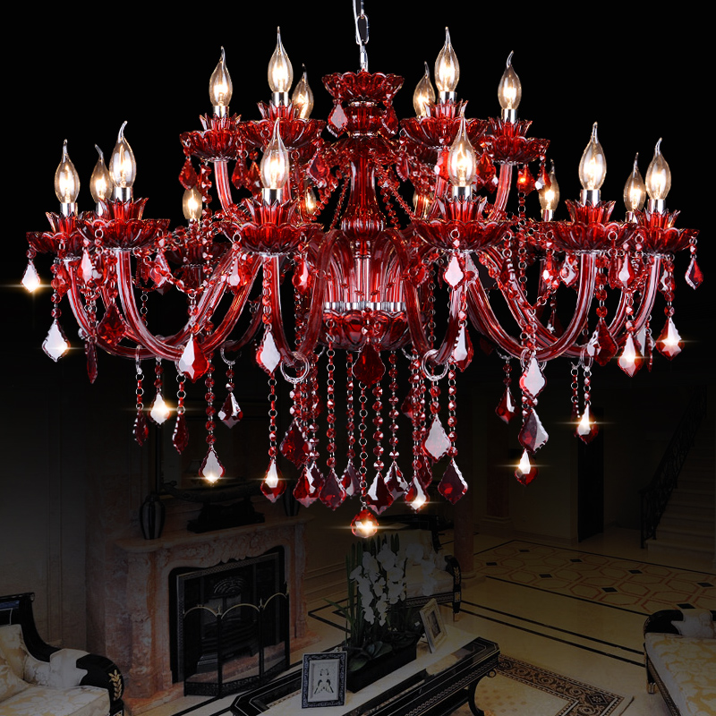Modern red crystal chandelier for living dining room bedroom modern red crystal chandelier for living dining room bedroom restaurant lamp chandeliers lighting fixtures suspension luminaire in chandeliers from lights aloadofball Images