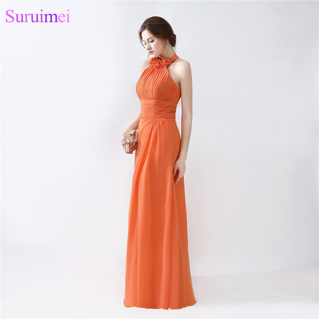 Halter Evening Dresses Floor Length Pleated Peach Color Chiffon ...