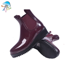 Women's Fashion Rainboots Waterproof Elastic Belt Platform Skid Water Shoes Solid Color Martin Boots Women Short Tube Boots