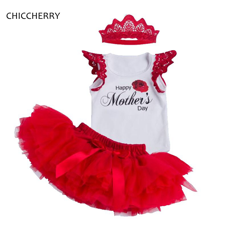 Summer Happy Mothers Day Newborn Girl Clothes Cotton Baby Romper Headband Lace Tutu Skirt Set Bodies Para Bebe Infant Bodysuit