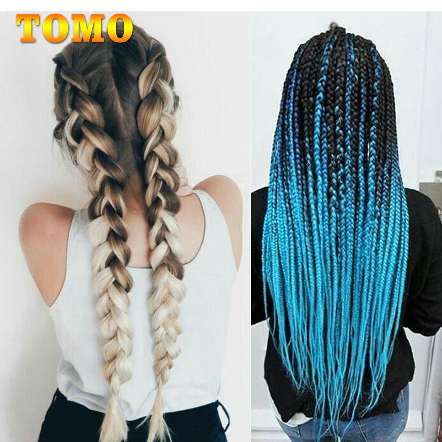 TOMO Ombre Jumbo trenzas a granel pelo sintético 24 ''100g extensiones de cabello trenzado africano estilo Arco Iris extensiones de cabello de ganchillo