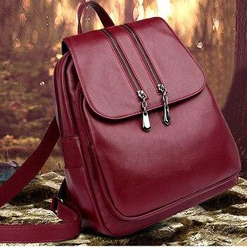 ¡Novedad de 2019! Mochila de cuero para ordenador portátil, mochila de lujo para mujer, mochila a la moda, bolso escolar Pu 9,1 # 5%