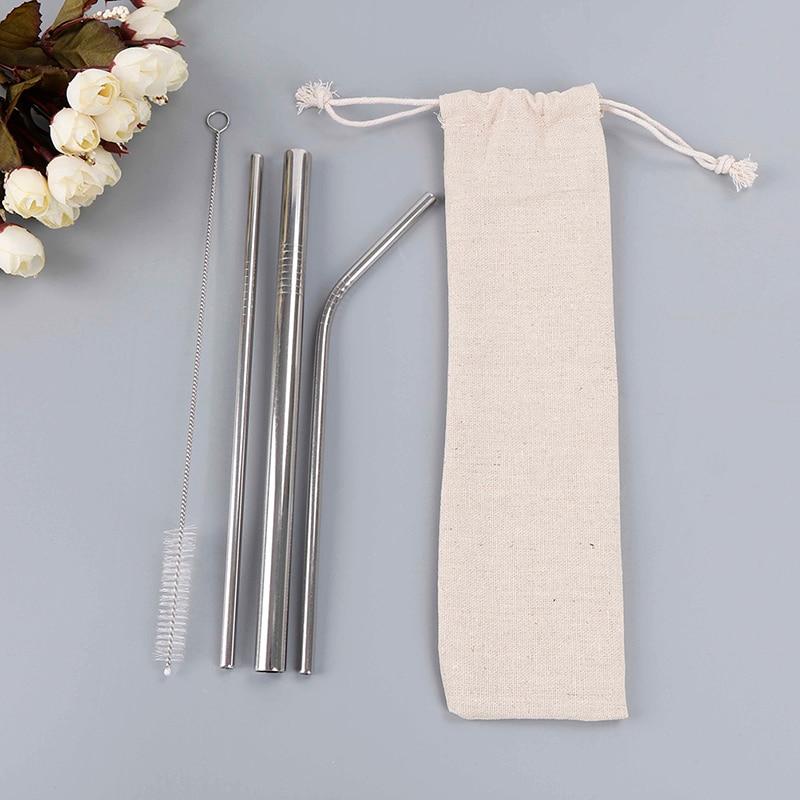 Gran Venta 3 Piezas Metal Reutilizable Straws + 1 Pc Cepillo Limpiador Con Bolsa De Acero Inoxidable Pajitas