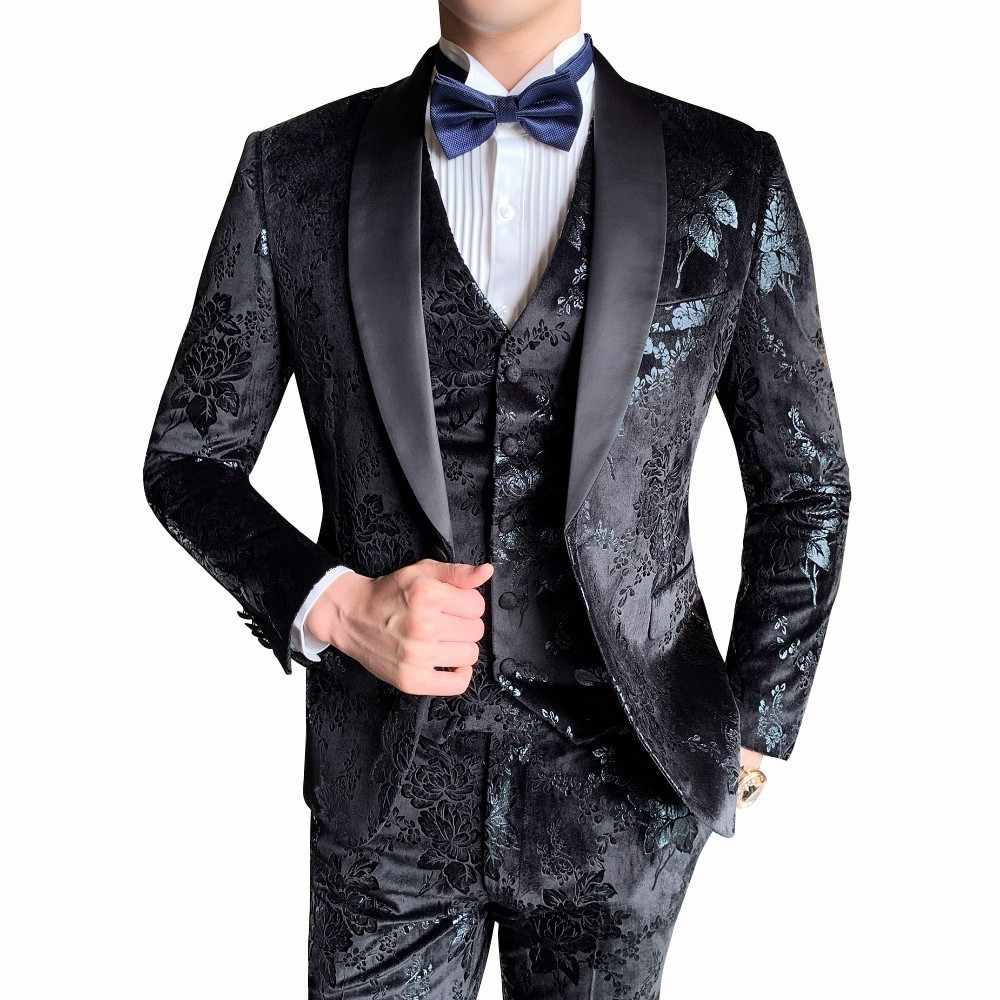 2019 Autumn Vestito Da Sposo 3 Pieces Suit Men Wedding Dress Suits Floral Printed Costume Homme Mariage Baroque Suits Men 3XL