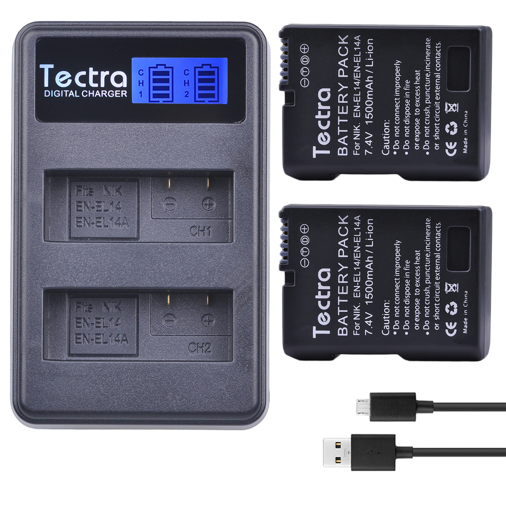 2 x EN-EL14A EN-EL14 ENEL14 EL14 Battery+ LCD USB Dual Charger for Nikon D3400 D3300 D3100 D5600 D5100 D5200 D3200 P7000 P7100 kingma en el14 battery charger kit for nikon en el14 en el14 en el14a eu adapter included