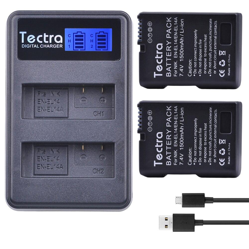 2 x EN-EL14A EN-EL14 ENEL14 EL14 batería + LCD cargador Dual USB para Nikon D3400 D3300 D3100 D5600 D5100 D5200 d3200 P7000 P7100