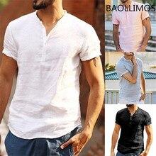 Мужская летняя рубашка размера плюс, хлопок, лен, короткий рукав, Ретро стиль, повседневная мужская одежда, одноцветные рубашки, мужские повседневные рубашки