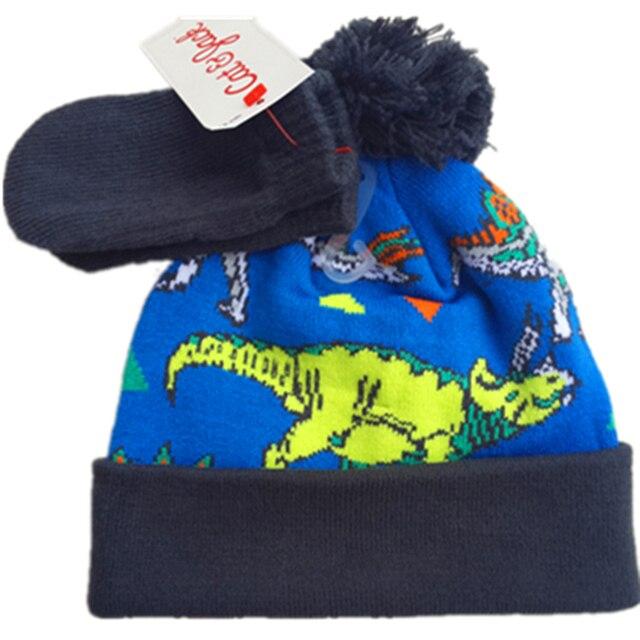 Children s winter Godzilla hats with mittens gloves wool cap dinosaur thick  warm beanies knitted hat cartoon baby infant hat Set 6135698d53b