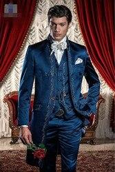 Новое поступление, синие смокинги жениха с вышивкой для жениха, мужские костюмы для свадебного выпускного на заказ (пиджак + брюки + жилет) K: ...