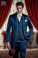 New Arrival Blue Embroidery Groom Tuxedos Groomsmen Men's Wedding Prom Suits Custom Made (Jacket+Pants+Vest) K:165