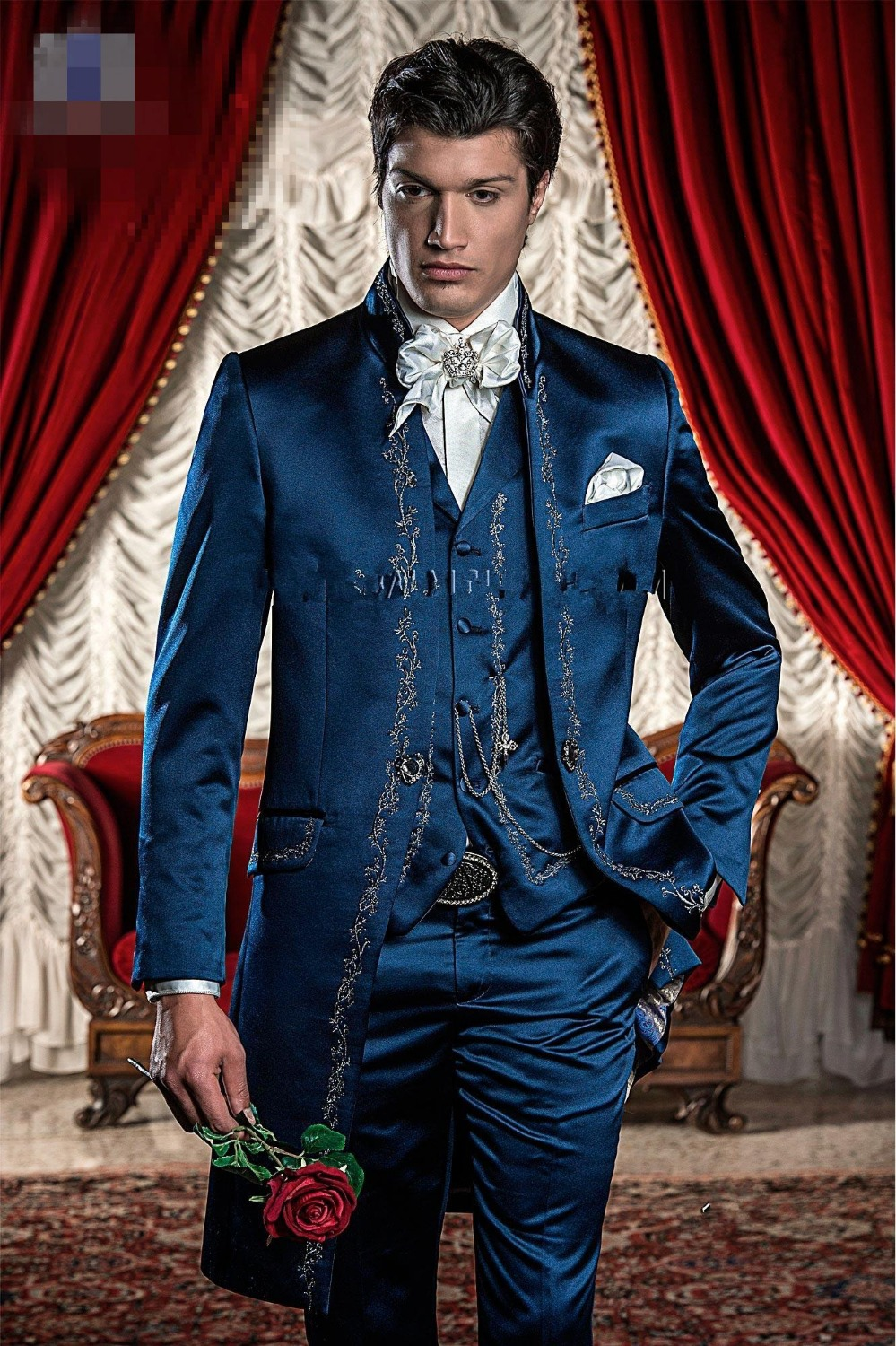 New Arrival Blue Embroidery Groom Tuxedos Groomsmen Men's Wedding Prom Suits Custom Made (Jacket+Pants+Vest) K:165