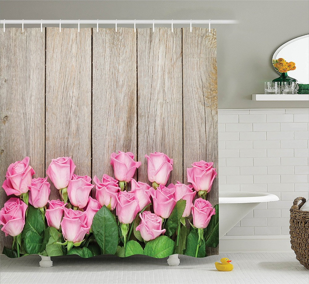 Pink Roses Over Wooden Timber Table Valentines Day Top View Picture Polyester Fabric Bathroom Shower Curtain Green Beige