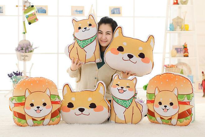 Candice guo! cute plush toy anime Corgi pet Shiba dog head hamburger cushion hand warm pillow birthday Christmas gift 1pc candice guo cute plush toy anime corgi pet shiba dog head hamburger cushion hand warm pillow birthday christmas gift 1pc