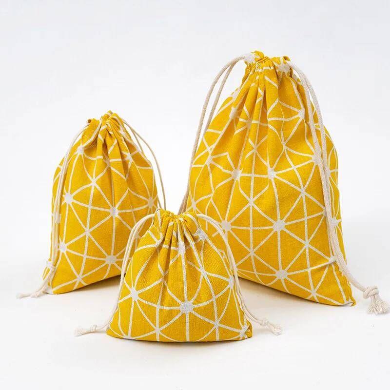 YILE Yellow Geometry Cotton Linen Drawstring Multi-purpose Pouch Organized Bag 8614e