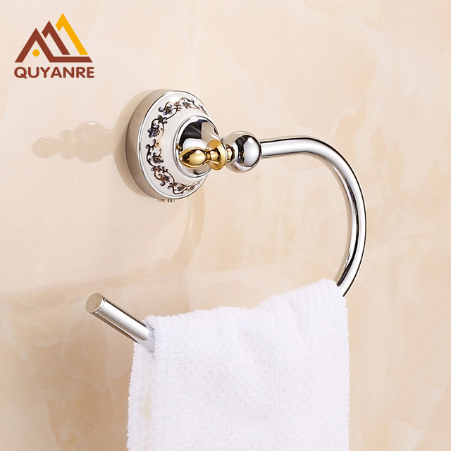 Free Shipping Chrome Bathroom Towel Ring Half Wall Mounted Round Brass Towel  Holder