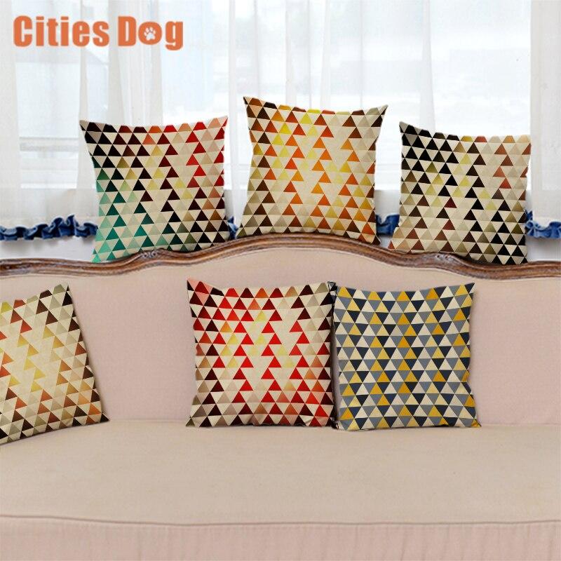 Colorful Geometric Cushion cover almofada Decorative Pillows coussin para el hogar decoracion linen animal throw Car Pillow cove