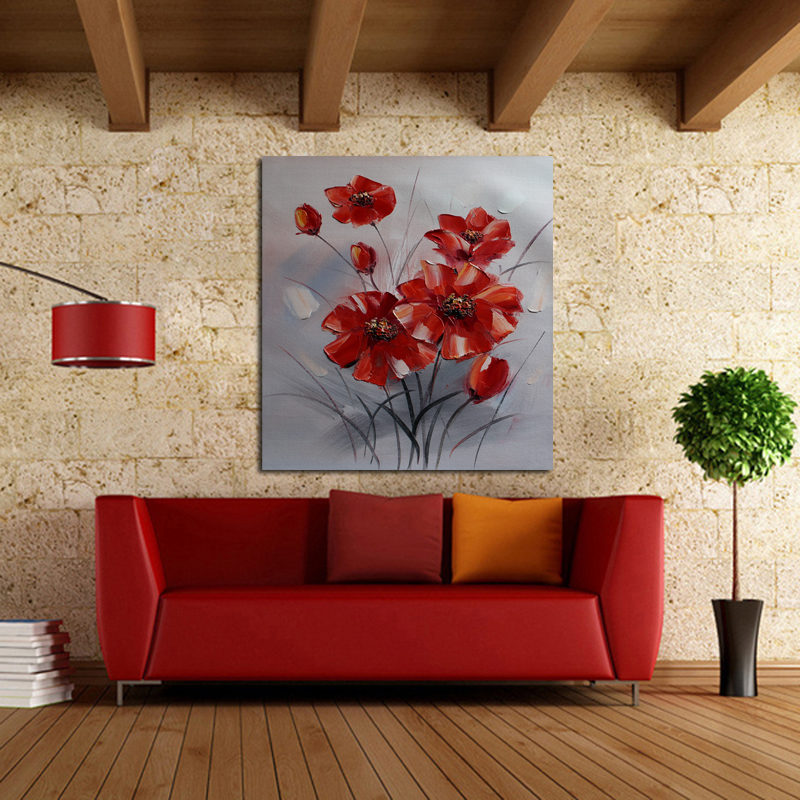 new decorative oil paintings wall picture new simple red flowers art modern abstract home decor best quality for home decor in painting calligraphy from - Home Decor Paintings