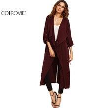 COLROVIE Burgundy Lapel Rolled Up Sleeve Split Long Outerwear Women Casual Top Solid Long Sleeve Tie Waist Coat
