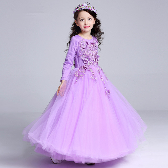 592790b55fc3 Long Style Girls Dress Latest European Purple Fancy Flowers Princess Costume  2018 Children Clothes For Girls 14 Years RKF175001