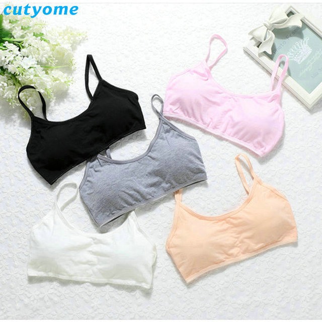 91bf9c35ce Girls Bra 1pc Girl Bra Sport Cotton Soild Kids Underwear For Teenagers  Young Girls Small Wireless