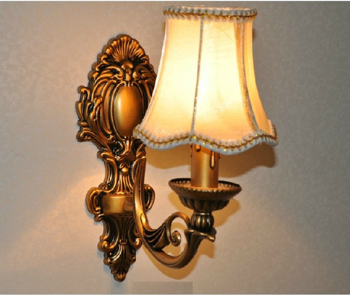 Modern Antique retro Bronze wall light fixture fashion vintage fabric lampshade bedroom bedside wall sconce lamp E27 bulb