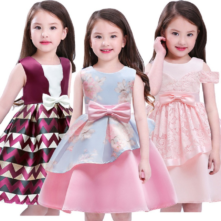 Christmas Flower Dress Girl Princess Dresses Girl Party Striped Tulle Kids Children Prom Gown Vestidos Formal Dress Bow Clothing