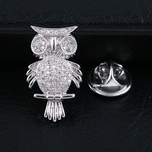CINDY XIANG Cubic Zirconia Owl Brooches For Women And Men Fashion Unisex Coat Brooch Collar Pin Wedding Accessories High Quality