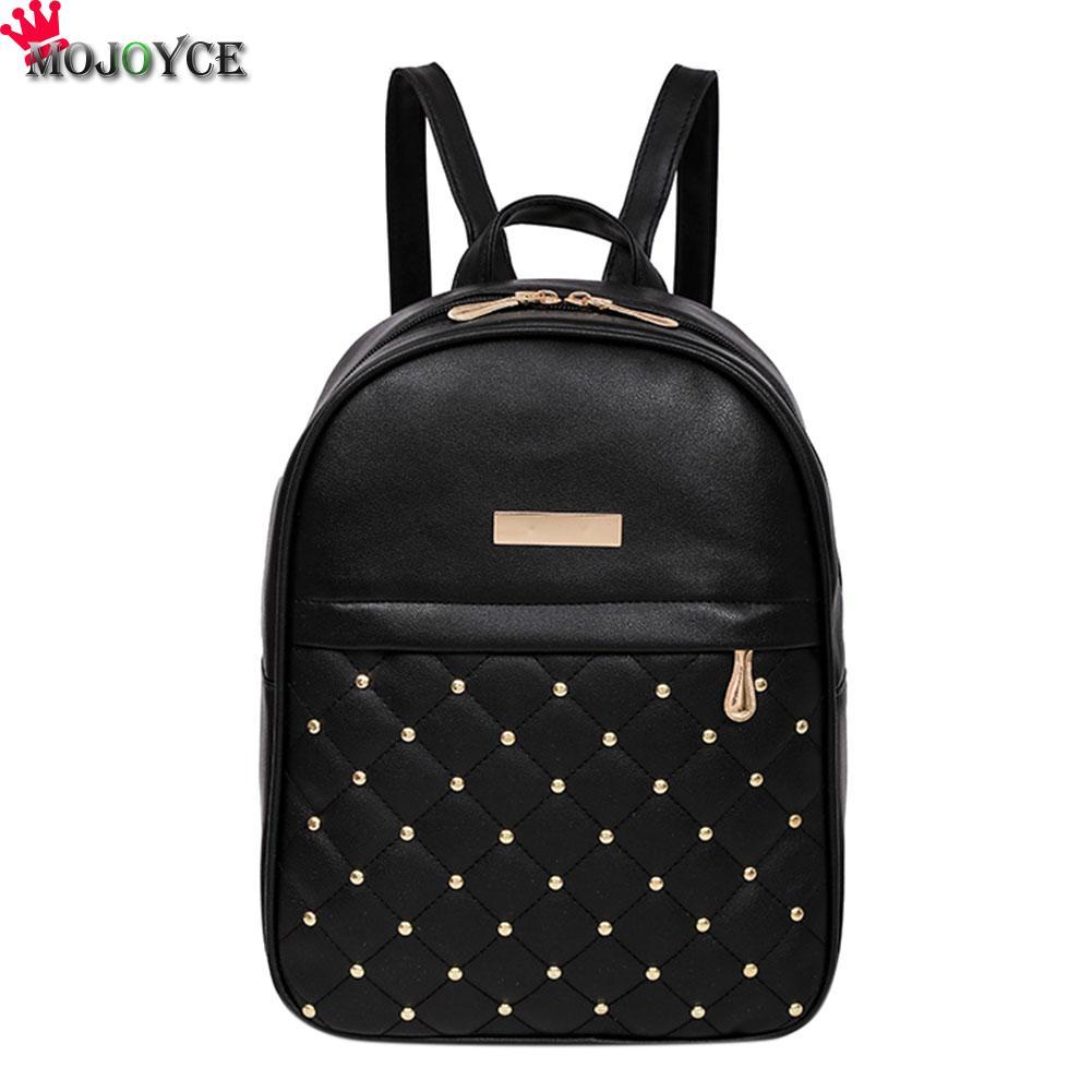 где купить Women Backpacks Casual Women Rivets Rucksack Preppy Style Girls Small Bookbags Female Shopping Bags Ladies Travel Backpacks по лучшей цене