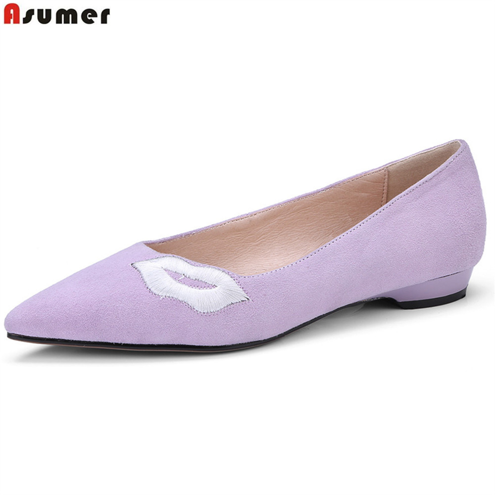 ASUMER black fashion spring autumn ladies single shoes pointed toe shallow casual women suede leather low heels shoes 2018 spring summer low heel sandals pointed toe shallow mouth women shoes woman cozy casual shoes leisure single ladies shoes cy