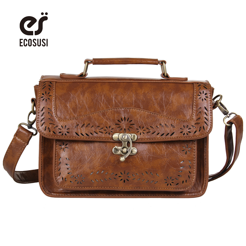 Ecosusi Ретро Для женщин сумка Департамент лесного хозяйства портфель выдалбливают плеча Портфели Bolsas femininas ранец