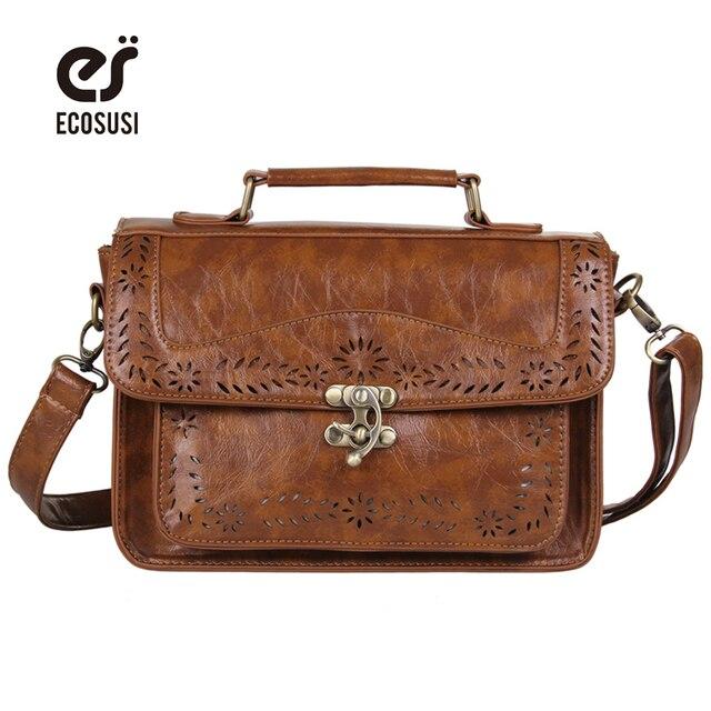 Ecosusi ретро женщины сумка департамент лесного хозяйства сумка выдалбливают плеча портфель bolsas femininas сумка