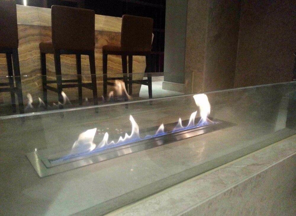 pulgadas de largo control remoto intellgent plata decorativo chimenea repisa de la chimenea de bioetanol