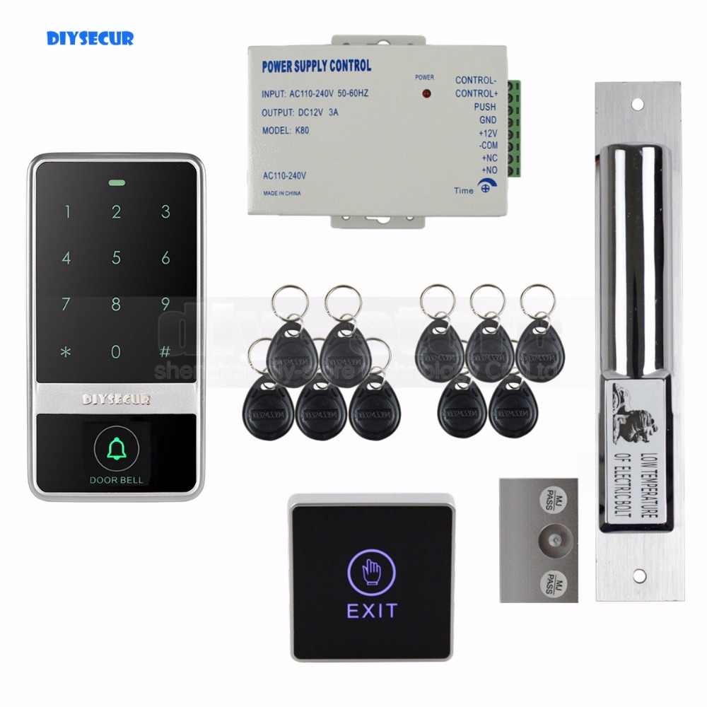 DIYSECUR 125KHz RFID Reader Password Touch Keypad Electric Bolt Lock Door Access Control Security System Kit diysecur touch panel rfid reader password keypad door access control security system kit 180kg 350lb magnetic lock 8000 users