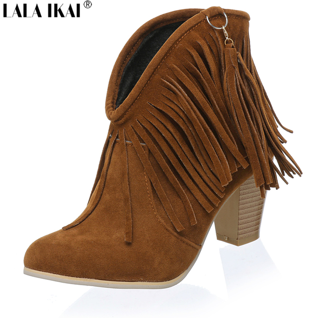 LALA IKAI Women Western Boots Cowboy Boots Suede Fringe Ankle Boots for Women  High Heels Shoes Woman XWN0254-5 7c0e5d887c47