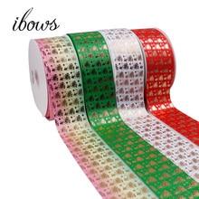 2Yards 3(75mm) Grosgrain Ribbon Christmas Bronzing Star Bells DIY Hair Bows Handmade Tape Festival Sewing Decoration Fabric