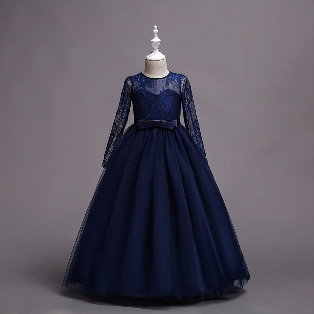 In Stock Navy Blue Long Sleeve   Flower     Girl     Dresses   A Line Floor Length Tulle Lace Cheap Little   Girls   Wedding Party Gowns