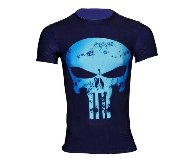 Camisa dos homens T Maravilha Punisher Camisas De Compressão Musculação  Aptidão Camisa Casual Tees Camisetas Hombre c62718386f610